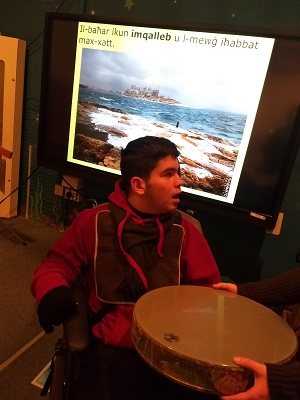 Manuel during a Literacy session in Multisensory Room were we tackled the topic of Winter